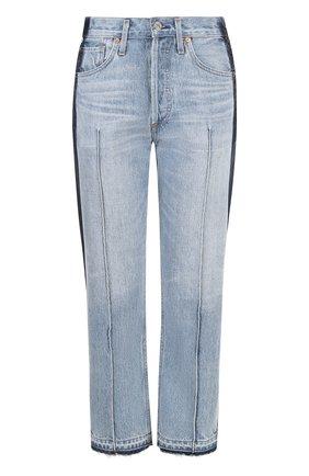 Укороченные джинсы с лампасами и потертостями