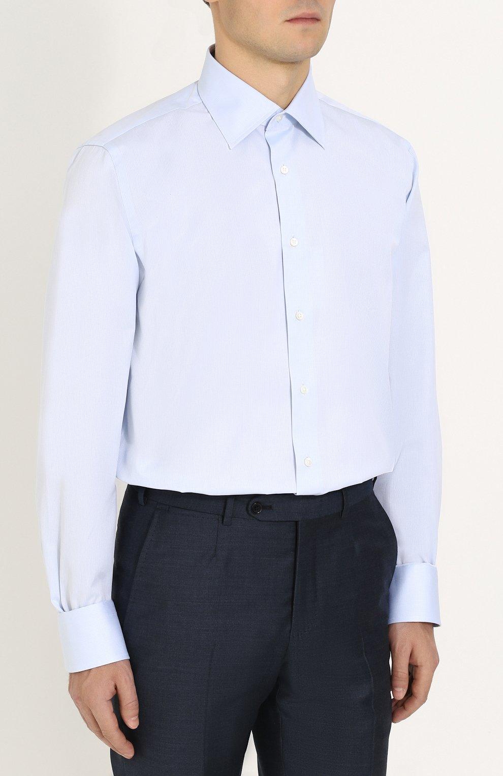 Мужская хлопковая сорочка с воротником кент CANALI голубого цвета, арт. 705/GA00111/CS | Фото 3