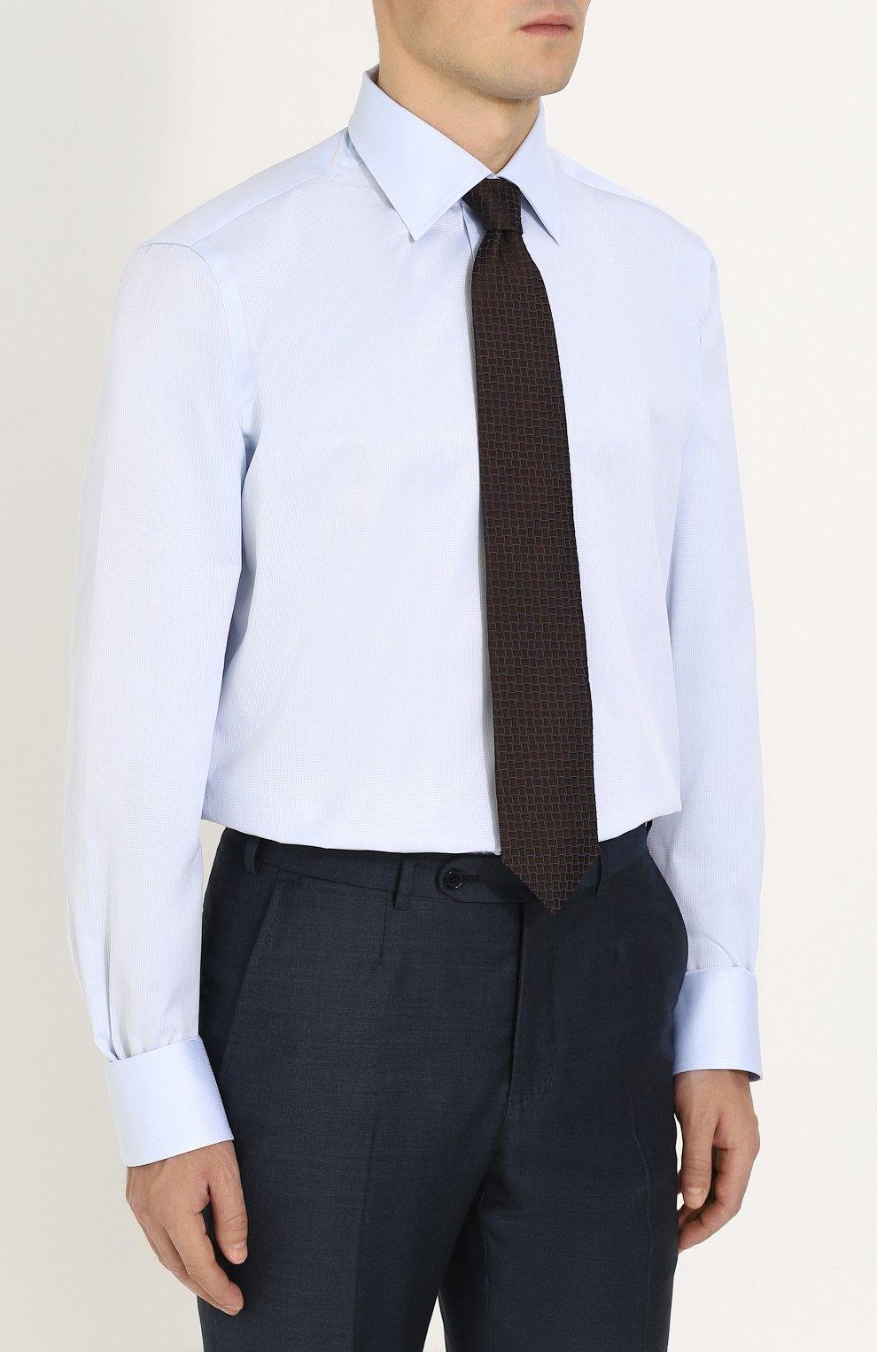 Мужская хлопковая сорочка с воротником кент CANALI голубого цвета, арт. 705/GA00111/CS | Фото 4