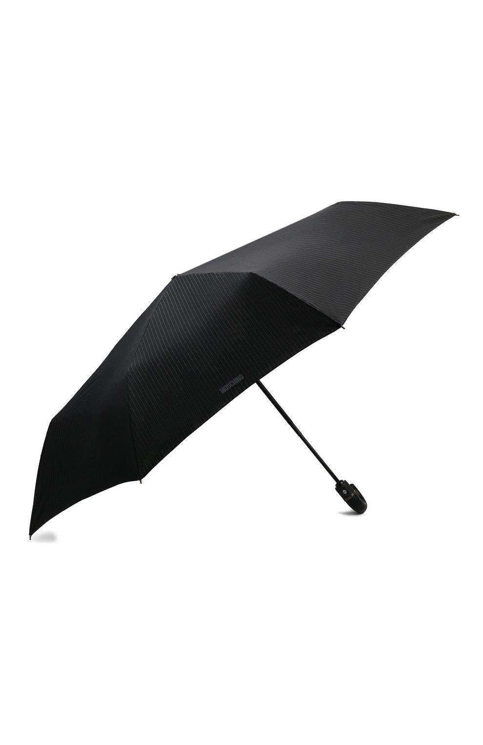 Складной зонт с логотипом бренда Moschino черный | Фото №2