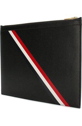 Кожаная папка для документов на молнии с контрастными полосками Thom Browne черного цвета | Фото №1