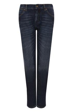 Женские джинсы прямого кроя с потертостями TOM FORD синего цвета, арт. PAD027-DEX071   Фото 1