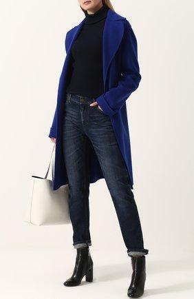 Женские джинсы прямого кроя с потертостями TOM FORD синего цвета, арт. PAD027-DEX071   Фото 2
