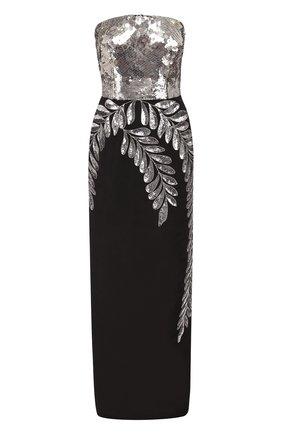 Платье-макси с контрастным декорированным лифом   Фото №1