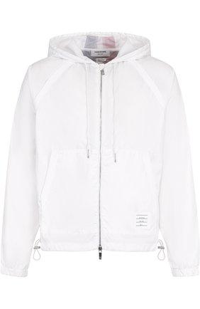 Куртка с контрастной отделкой на молнии и капюшоном Thom Browne белая | Фото №1