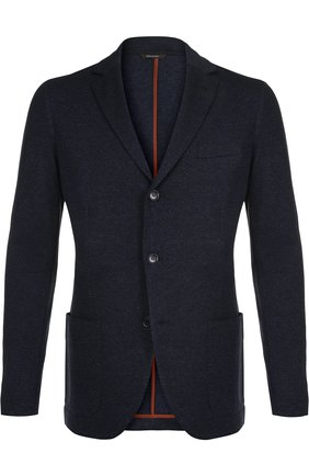 Мужской пиджак из смеси шелка и кашемира LORO PIANA темно-синего цвета, арт. FAI0980 | Фото 1