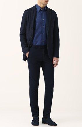 Мужской пиджак из смеси шелка и кашемира LORO PIANA темно-синего цвета, арт. FAI0980 | Фото 2
