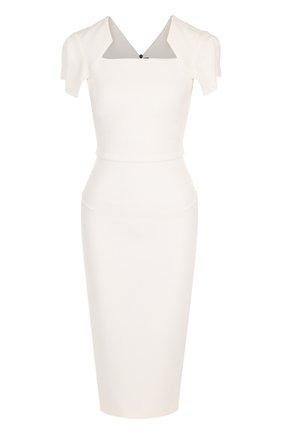 Однотонное платье-футляр с коротким рукавом   Фото №1