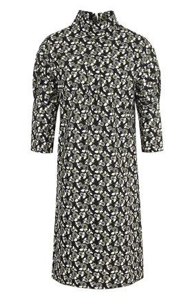 Мини-платье с укороченным рукавом и воротником-стойкой | Фото №1