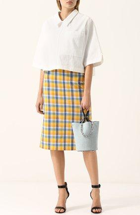 Женская хлопковая блуза свободного кроя с укороченным рукавом Thom Browne, цвет белый, арт. FTU224A-02936 100 в ЦУМ | Фото №1