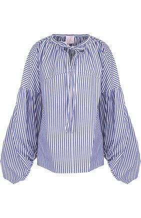 Хлопковая блуза в полоску с объемными рукавами | Фото №1