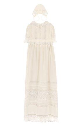 Крестильное платье с шапкой из шелка и хлопка | Фото №1