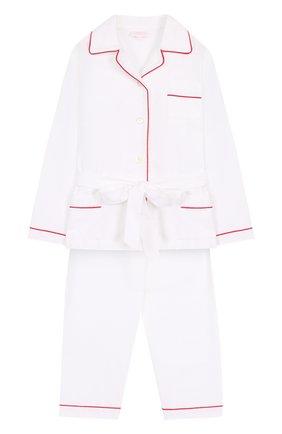 Хлопковая пижама с контрастной отделкой и поясом | Фото №1