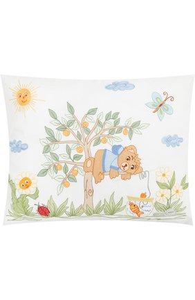 Хлопковый комплект из подушки и наволочки с вышивкой | Фото №1