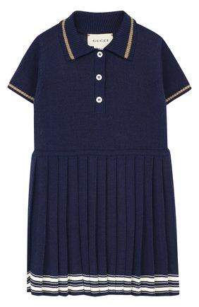 Платье с плиссированной юбкой и контрастной отделкой | Фото №1