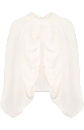 Однотонная шелковая блуза с драпировкой и воротником-стойкой | Фото №1