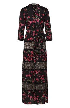 Приталенное платье-макси с принтом и кружевными вставками Alice + Olivia черное   Фото №1