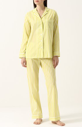 Хлопковая пижама в полоску YOLKE желтая   Фото №1