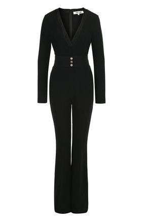 Однотонный приталенный комбинезон с длинным рукавом Diane Von Furstenberg черный   Фото №1