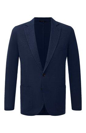 Мужской пиджак из смеси хлопка и шелка LORO PIANA темно-синего цвета, арт. FAE8388 | Фото 1
