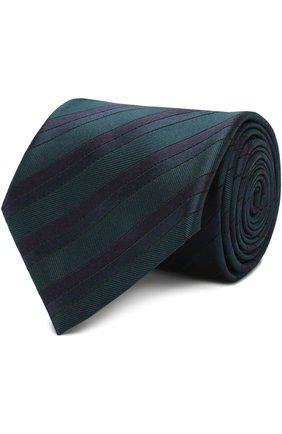 Мужской шелковый галстук в полоску BRIONI темно-зеленого цвета, арт. 062I/06497 | Фото 1