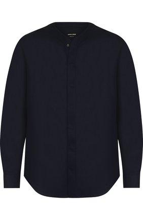 Мужская льняная однотонная рубашка GIORGIO ARMANI темно-синего цвета, арт. WSC5XT/WS16C | Фото 1
