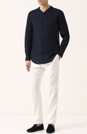 Мужская льняная однотонная рубашка GIORGIO ARMANI темно-синего цвета, арт. WSC5XT/WS16C | Фото 2