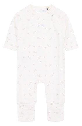 Детский хлопковый комбинезон с принтом SANETTA FIFTYSEVEN белого цвета, арт. 901611 | Фото 1