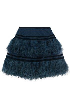 Мини-юбка с бархатными вставками и перьевой отделкой | Фото №1