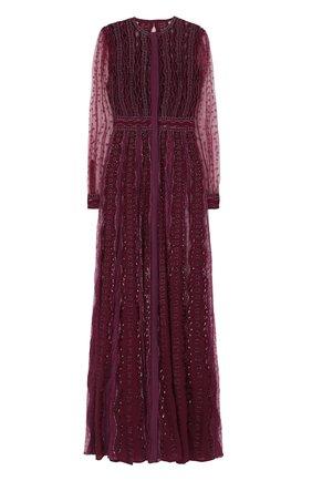 Платье-макси с отделкой из бисера Zuhair Murad бордовое | Фото №1