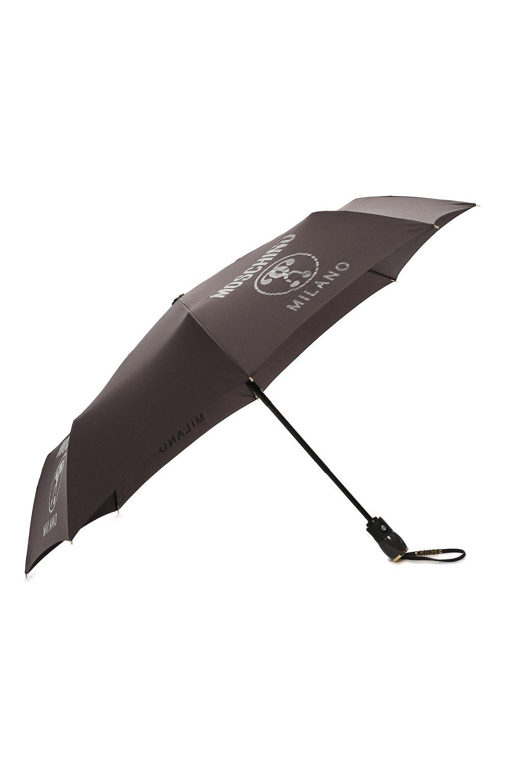 Складной зонт с принтом Moschino темно-серый | Фото №2