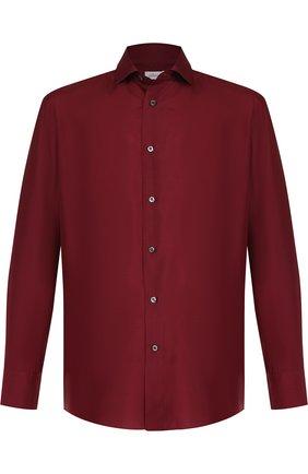 Мужская шелковая сорочка с воротником кент BRIONI бордового цвета, арт. SCBQ0L/P7444 | Фото 1