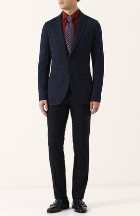 Мужская шелковая сорочка с воротником кент BRIONI бордового цвета, арт. SCBQ0L/P7444 | Фото 2