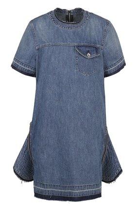 Джинсовое платье-мини с декоративными молниями | Фото №1