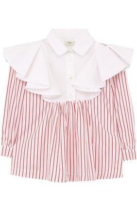 Хлопковая блуза в полоску с оборками   Фото №1