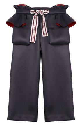 Укороченные брюки с оборками и контрастным бантом | Фото №1