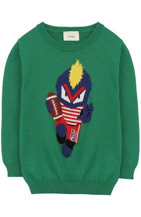 Хлопковый пуловер с принтом   Фото №1