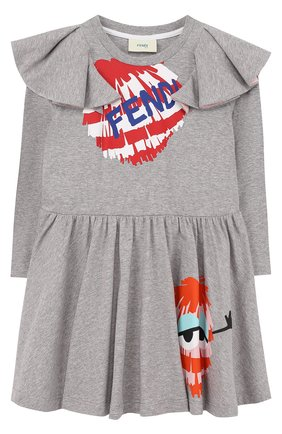 Хлопковое платье с принтом и оборками   Фото №1