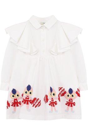 Хлопковое платье свободного кроя с принтом и оборками   Фото №1