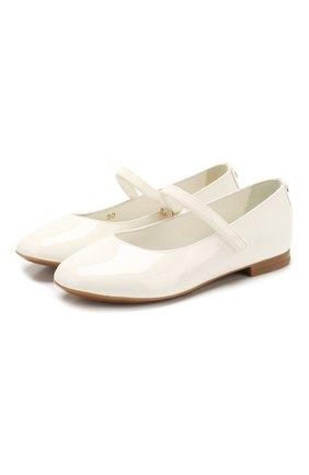 Детские кожаные балетки DOLCE & GABBANA белого цвета, арт. D10699/A1328/29-36 | Фото 1