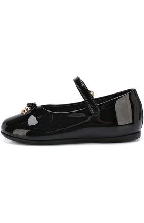 Детские лаковые туфли с ремешком и бантами DOLCE & GABBANA черного цвета, арт. D20057/A1328 | Фото 2