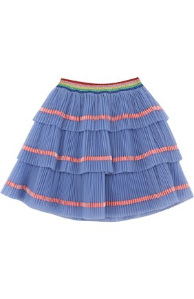 Многослойная юбка с плиссированными оборками и контрастной отделкой | Фото №1