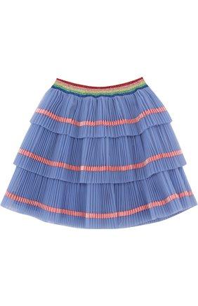 Многослойная юбка с плиссированными оборками и контрастной отделкой | Фото №2
