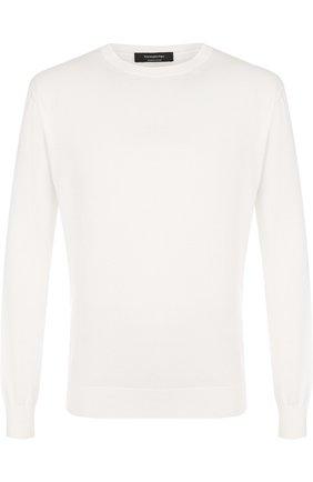 Мужской хлопковый джемпер тонкой вязки ERMENEGILDO ZEGNA белого цвета, арт. UPC90/110 | Фото 1