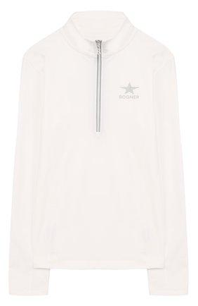 Детская спортивный джемпер с логотипом бренда Bogner Kids белого цвета | Фото №1