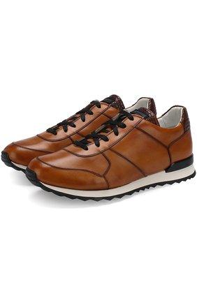 Мужские кожаные кроссовки на шнуровке с вставкой из кожи крокодила KITON коричневого цвета, арт. USSB0RIN00038 | Фото 1