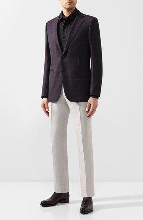 Мужская сорочка из смеси хлопка и шелка BRIONI черного цвета, арт. RCL940/0Z006 | Фото 2