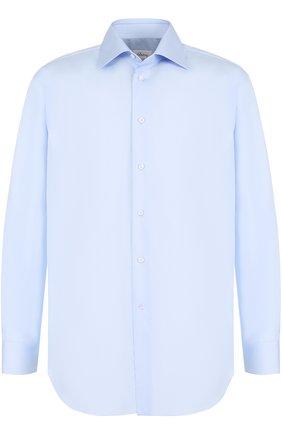 Мужская хлопковая сорочка с воротником кент BRIONI светло-голубого цвета, арт. RCL996/PZ024 | Фото 1