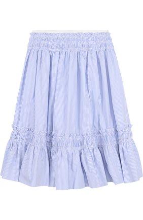 Хлопковая юбка-миди свободного кроя в полоску | Фото №1