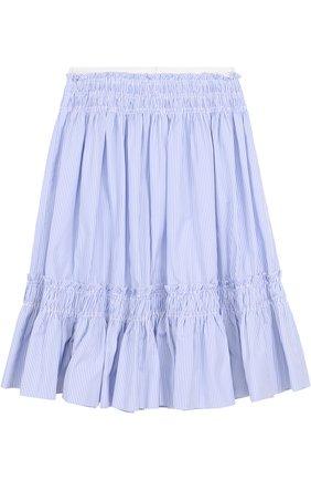 Хлопковая юбка-миди свободного кроя в полоску | Фото №2